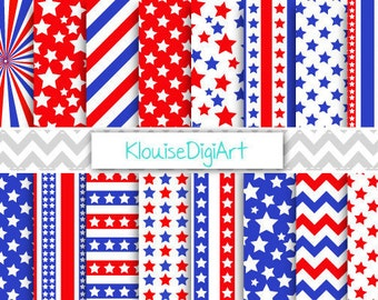Red and Blue July 4th Independence Day Printable Digital Paper Pack with Stars and Stripes for Personal and Small Commercial Use (0116)