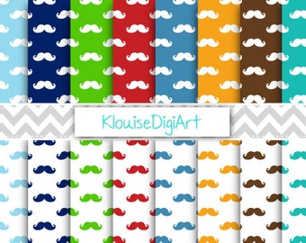 Mustache Digital Printable Papers for Personal and Small Commercial Use (0077)