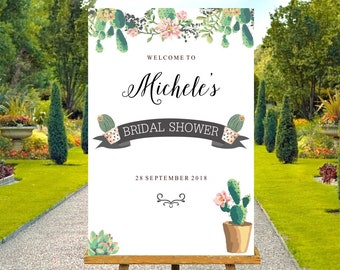 Cactus Bridal Shower Welcome Sign, cactus pots and pink flowers. 24 x 36 inch, custom made file nothing posted