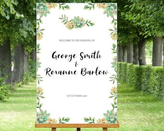 Succulent Wedding Welcome sign, print ready welcome signs for any occasion, you choose, I customize