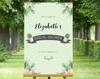 Bridal Shower Welcome Sign mint with cactus pots and pink flowers. 24 x 36 inch, custom made file nothing posted