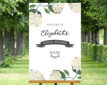 White Bridal Shower Welcome Sign white hydrangea with green leaves. 24 x 36 inch, custom made file nothing posted