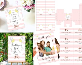 Pink Baby Shower, Printable Sign, Photo booth frame, Invitation, Food tent cards, mini champagne labels and favor box in pretty pink