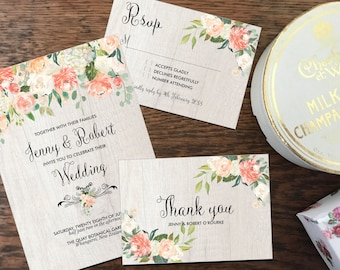 Rustic wedding invitation, printable white wood and blush peach flowers, boho coral bouquet watercolor flowers