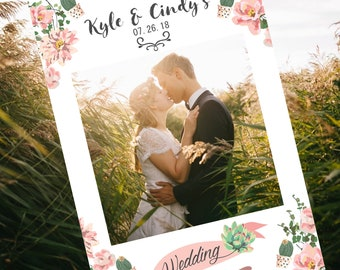 Wedding Photo Booth Frame, Photo prop frame for your wedding day, gorgeous cactus floral & succulents on white background, print ready file