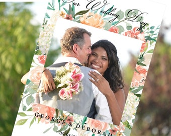 Wedding Photo Booth Frame, floral arrangement border on white background, with our wedding day on the top.  peach and green flowers