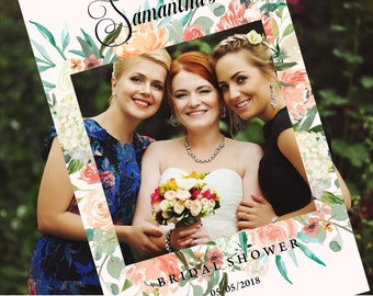 Bridal Shower Photo Prop Frame, Peach flowers, on light pink background, pretty spring vibe photo booth frame for your bridal shower