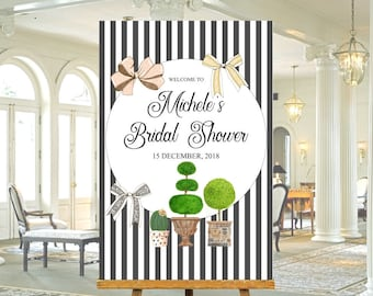 Black and white striped Bridal Shower welcome sign, with greenery topiary, cactus pot and bows, for any occasion, print ready