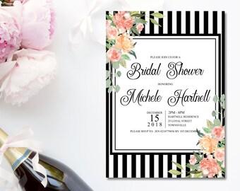 Black and White Bridal Shower invitation 5 x 7. Black stripes, border of watercolor floral arrangements, printable file