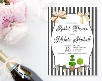 Black and White Bridal Shower invitation. Black stripes, pink and gold bows, greenery cactus and topiaries, stunning, print ready for you