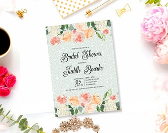 Lace and Floral Bridal Shower invitation. White lace on sage green background and watercolor floral border in blush, printable file