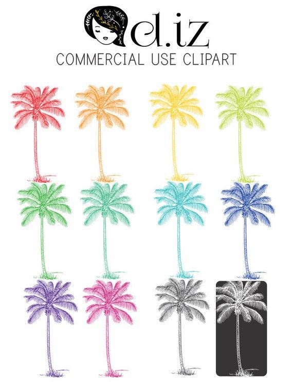 Palme Baum ClipArt in 12 Farben einschließlich weiß | Etsy