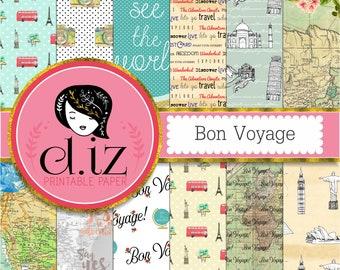 Travel Digital Paper, Bon Voyage, vintage maps, postcard style, antique texture, famous landmarks, travel quotes, wanderlust