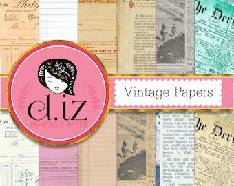 Old paper digital paper, vintage papers, antique paper backgrounds, newspaper digital paper x 12