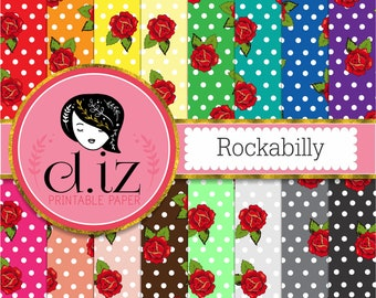 Rockabilly polkadots digital paper rockabilly wedding polka dots and rose backgrounds 16 papers instant download