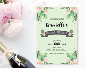 Cactus invitation Bridal Shower. gorgeous cactus and succulents in mint green,  size 5 x 7 printable, can be any occasion