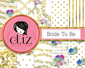 Wedding digital paper floral wedding digital paper 'Bride to be' Gold and watercolor floral digital paper, gold vines, watercolor flowers