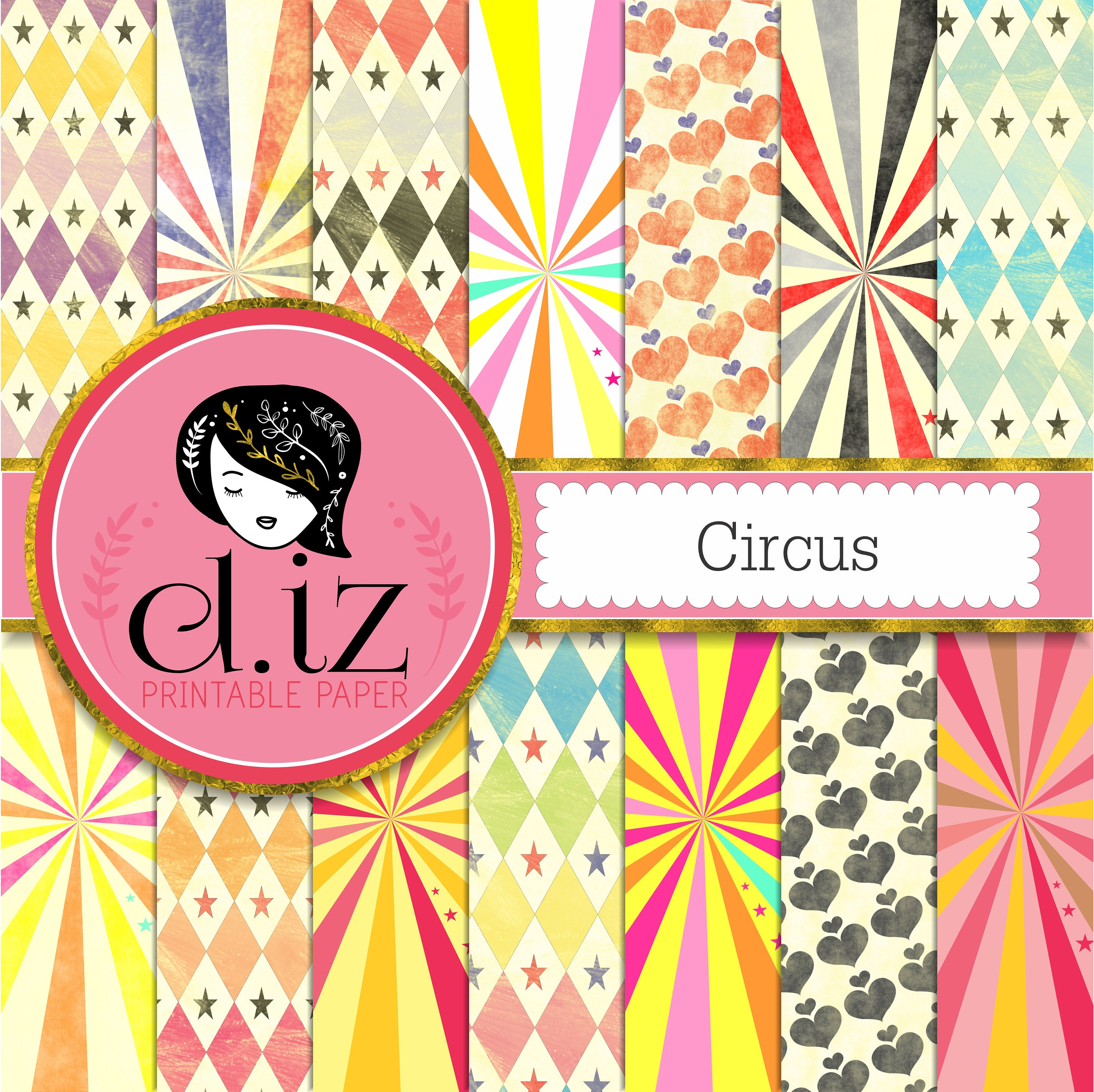 circus digital paper diamonds hearts stars and stripes   etsy