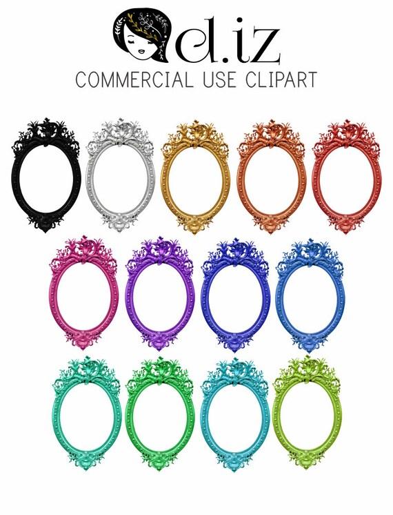 Clip Art Frames Oval Frames Oval Digital Frames 13 Oval Etsy