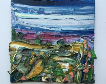 "4"" x 4"" abstract impasto landscape, oil on canvas board."