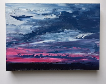 "Original 5"" x 7"" skyscape oil painting on cradled wood."