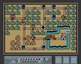 Super Mario Bros. 3 World 1 Map cross stitch pattern
