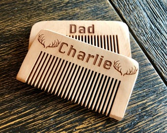 Personalized wooden beard comb