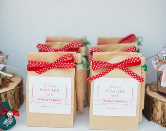Ships Tomorrow Christmas Gift for a Coworker Mini Biscuit Mix Bag or Pancake Mix with Red Holiday Ribbon