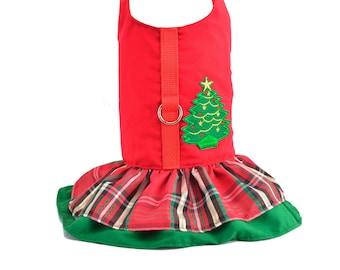 Christmas Plaid Ruffled Dog Vest Harness