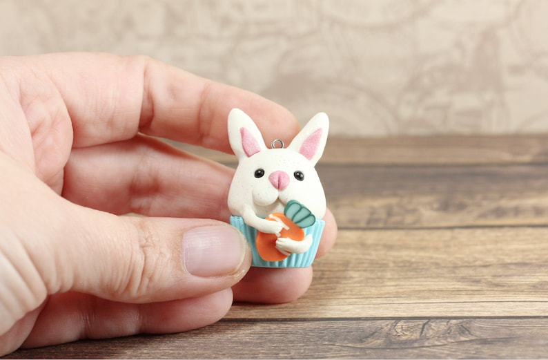 Bunny Rabbit Key Chain Bunny Polymer Clay Charm Easter Bunny Charms Cupcake Charms Rabbit Keyring