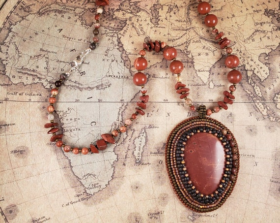 Red Jasper Boho Statement Necklace