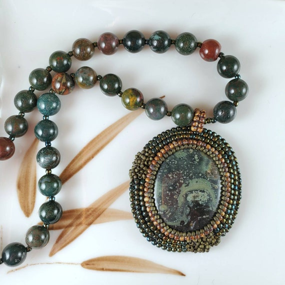 Earthy green jambaba jasper pendant on a bloodstone jasper necklace hand bead embroidered jewelry, Foxxy Jewelry CynthiaFoxDesign