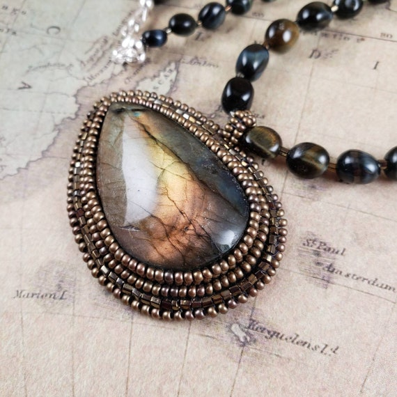 Large Golden Mossy Labradorite Pendant on a Natural Blue Tigers Eye Beaded Necklace