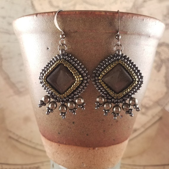 Egyptian Flare, Shimmery Golden Obsidian Black Earrings with Pyrite Orbs