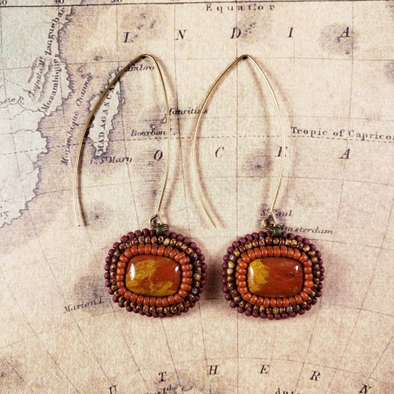Simple Earring Collection - Yellow Red Noreena Jasper beaded with oranges and brown seed beads on long ear wires