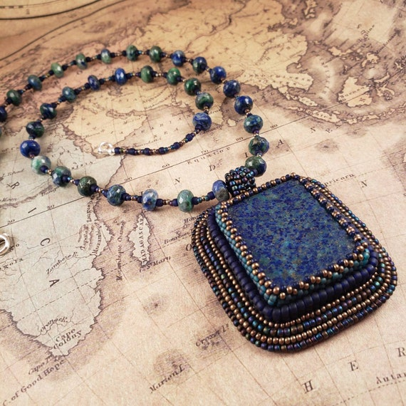Boho Azurite Lapis Gemstone Pendant and Necklace