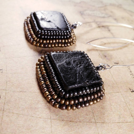 Simple Long Earring Collection - Black Tourmaline Stones Framed with Brass and Pewter Glass Seed Beads