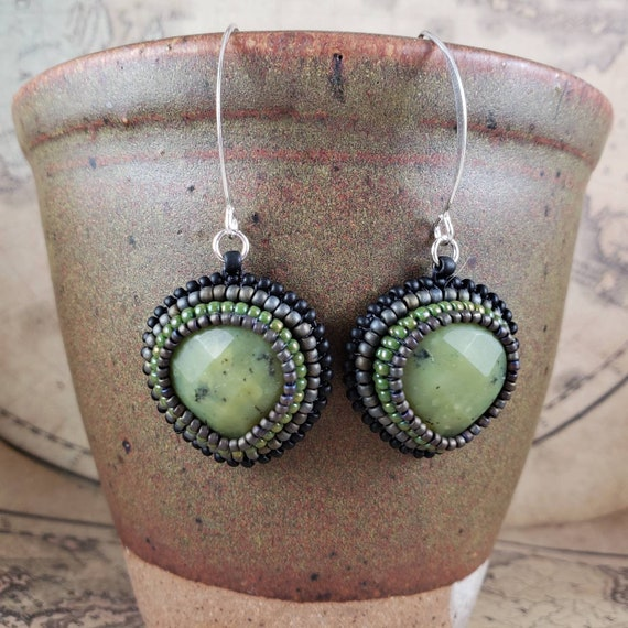 Green Jade Earrings on Sterling Silver Hand Bead Embroidered with Matte and Glossy Seed Beads