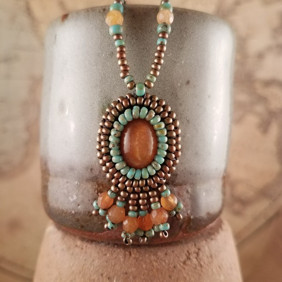 Golden Sunstone and Peach Carnelian Fringe Beaded Boho Necklace