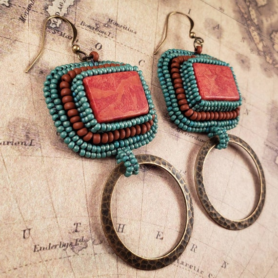 Bright Coral Red and Brass Earrings Sky Blue Hand Beaded Southwestern Boho Flare