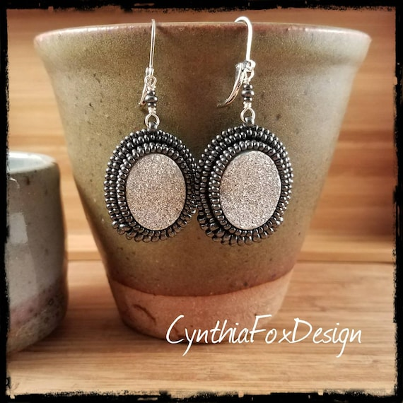 Sparkly Silver Druzy Earrings