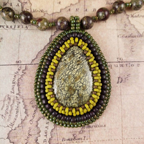 Green Sediment Jasper Pendant on a Dragons Blood Jasper Necklace