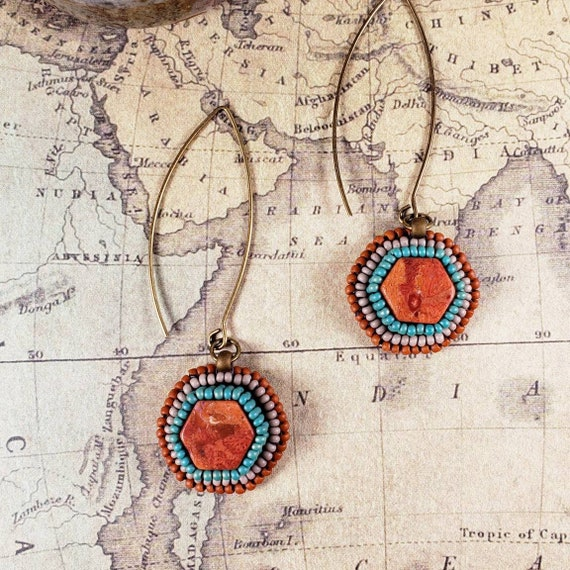 Rich Orange Red Coral Hexagon Earrings on Long Earwires Hand Bead Embroidered with Turquoise and Burnt Orange Glass Beads