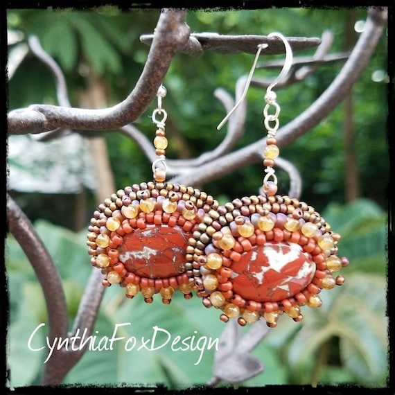 Red Brecciated Jasper and Citrine Orb Earrings