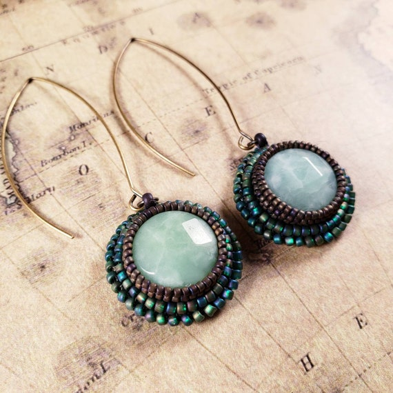 Sleek and Chic Hand Beaded Green Swirled Amazonite Earrings on Long Earwires