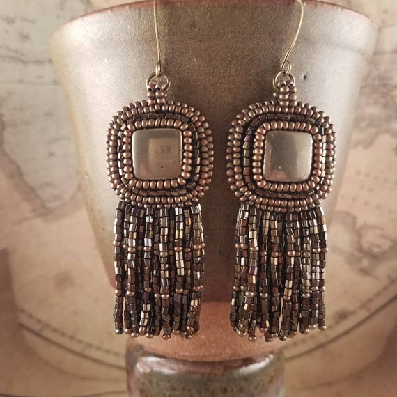 Gold Pyrite Earrings with Long Brass and Bronze Glass Fringe