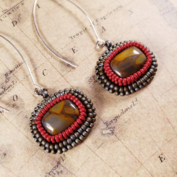 Long Hanging Red, Gray and Orange Noreena Jasper Earrings Natural Modern Art Matrix