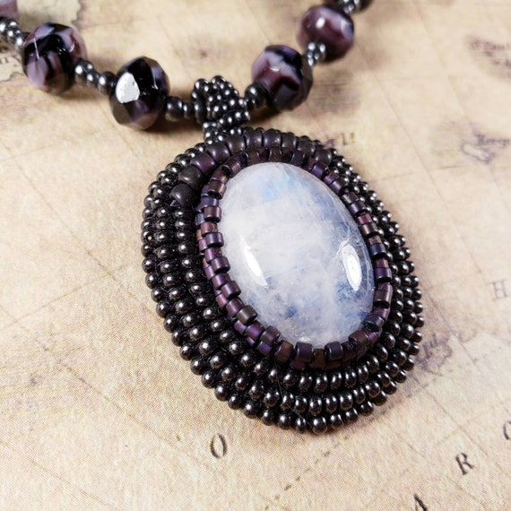Iridescent Moonstone Pendant on a Purple and Pewter Czech Glass Beaded Necklace with Sterling Silver Clasp
