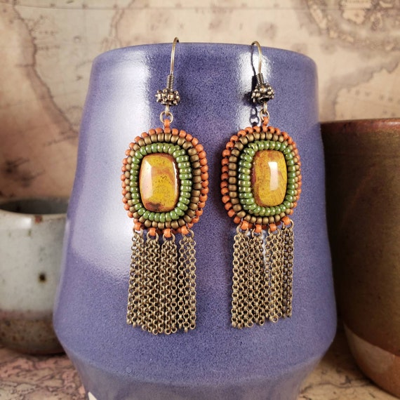 Fall Earrings, Orange and Yellow Gold Noreena Jasper Earrings with Antiqued Brass Chain Metal Long Fringe