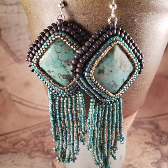Gypsy Sea Green Aqua African Turquoise Long  Beaded Fringe Earrings